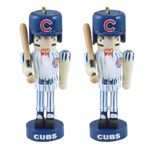 Chicago Cubs Mini Wooden Nutcracker Two-Piece Ornament Set