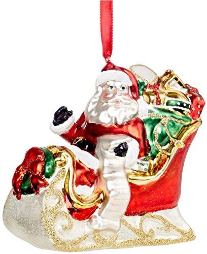 Holiday Lane Santa in Sleigh Glass Ornament