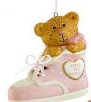 Holiday Lane Christmas Ornament, Baby's 1st Bear in Pink Bootie