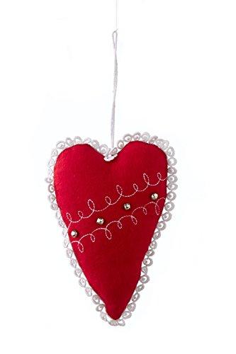 Sage & Co. XAO16192RW 6″ Wool Heart Ornament