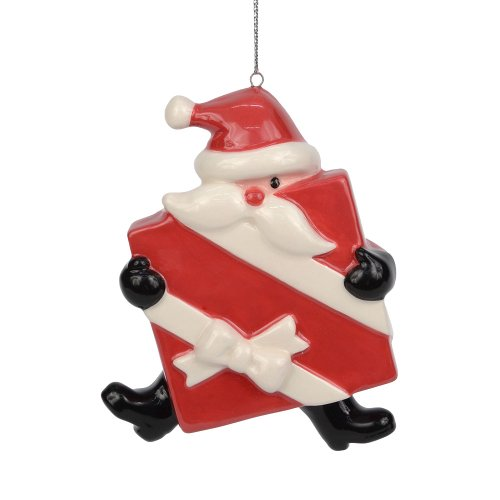 Department 56 Dear Santa Christmas Décor Santa with Present Ornament, 3.5-Inch