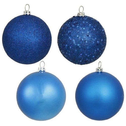 Vickerman 163047 – 1″ Blue Shiny Matte Glitter Sequin Ball Christmas Tree Ornament (18 pack) (N590302)