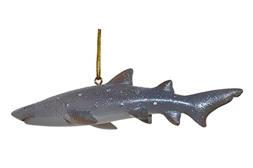 December Diamonds Discontinued Aquatic Collection Sand Tiger Shark Ornament is embellished with Clear Rhinestones & Sparkles.