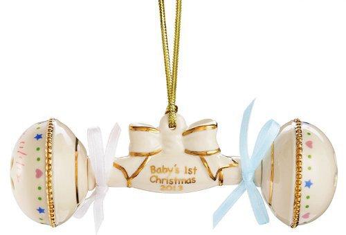"Lenox 2013 ""Babys 1st Christmas"" Rattle Ornament"