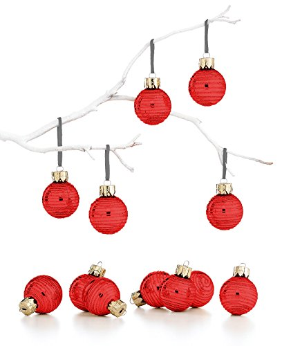 Holiday Lane Mini Metallic Red Glitter Glass Ornaments Set of 12