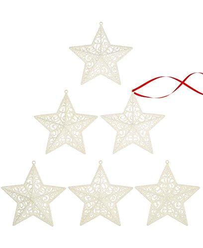 Holiday Lane Christmas Ornaments, Set of 6 White Star Glitter Glass Ornaments