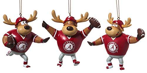 University of Alabama Football Player Christmas Ornaments Set of 3