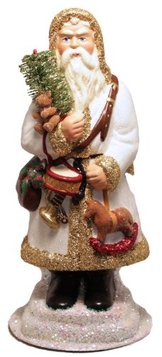 Ino Schaller White Glitter Santa Holding Toys German Paper Mache Candy Container