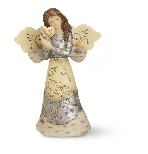 Elements Love You Grandma Angel Figurine by Pavilion, Holding Heart, 5-1/2-Inch