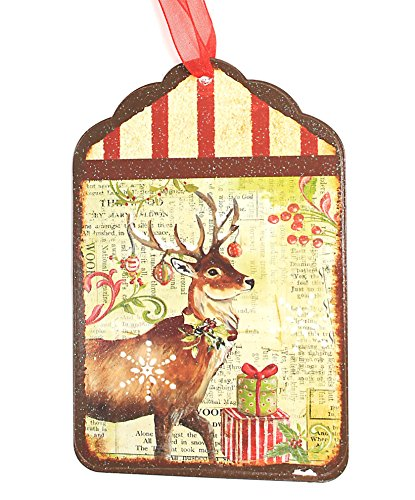 Holiday Lane Vintage-Style 6-inch Tin Tag Christmas Ornament with Reindeer Print