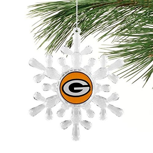 Classic Team Logo Snowflake Ornaments (Small, Green Bay Packers)