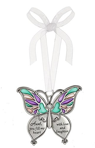 Ganz Butterfly Wishes Colored Ornament – Aunt, you fill my heart with love and laughter