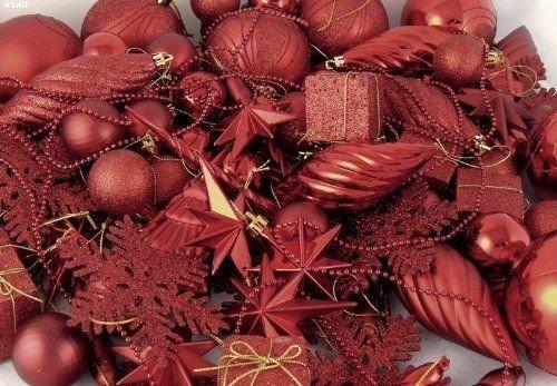 ChatAngle(TM) Vickerman 125-Piece Ornament Set Red