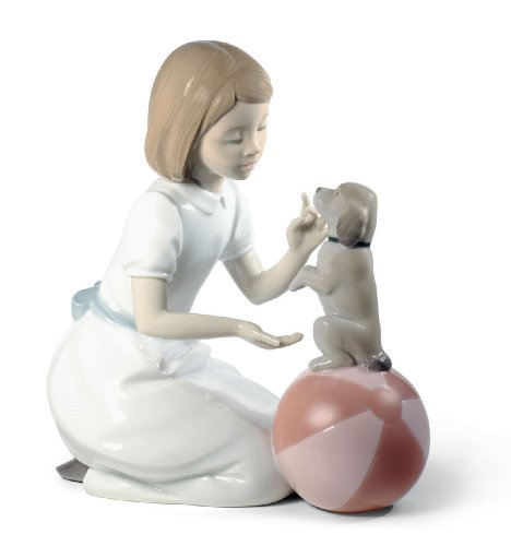 Nao Porcelain by Lladro LEARNING NEW TRICKS (GIRL WITH PUPPY) 2001745