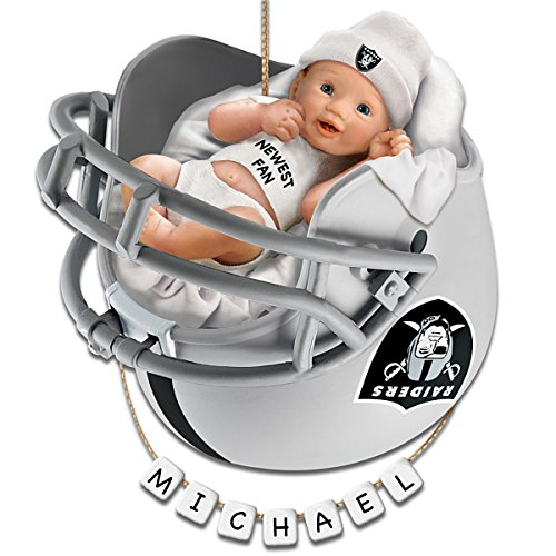 NFL Oakland Raiders Personalized Baby's First Christmas Ornament by The Bradford Exchange