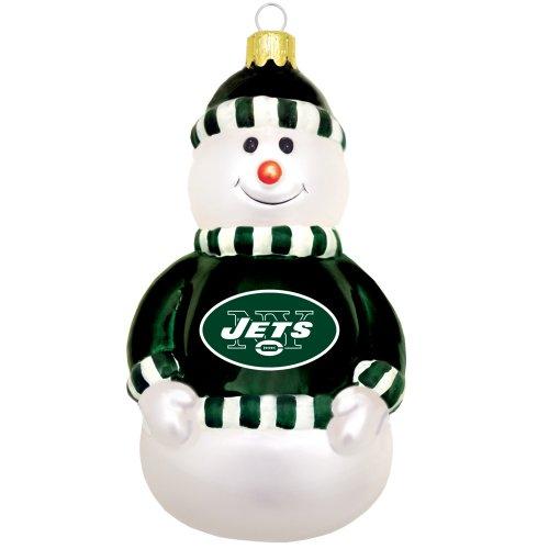 NFL New York Jets Blown Glass Snowman Ornament