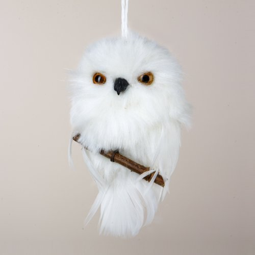 4″ Tell a Story White Snowy Owl Perched on Branch Christmas Ornament