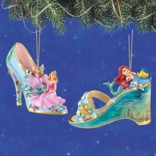 Disney Once Upon A Slipper Ornament #3 Bradford Exchange Ornament Set