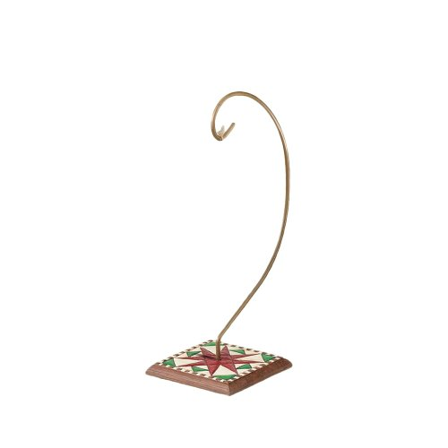 Jim Shore Heartwood Creek Ornament Holder with Quilt Pattern on Wood Base, 8-1/2 Inches