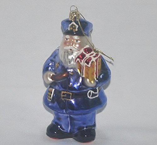 Policeman Santa Christmas Ornament Blown Glass 5 1/4″ Tall