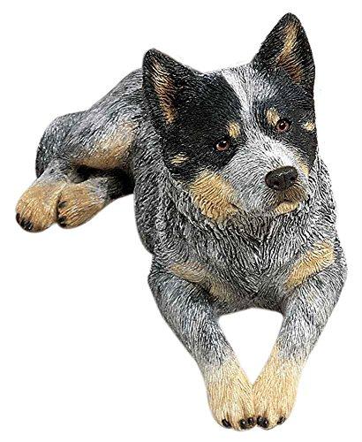 Sandicast Original Size Australian Cattle Dog Sculpture, Lying, Blue