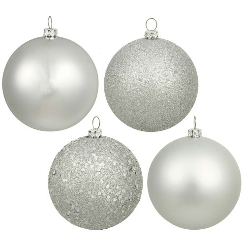 Vickerman Christmas Trees N590607 24-Piece Assorted Ornament Set, 60mm, Silver