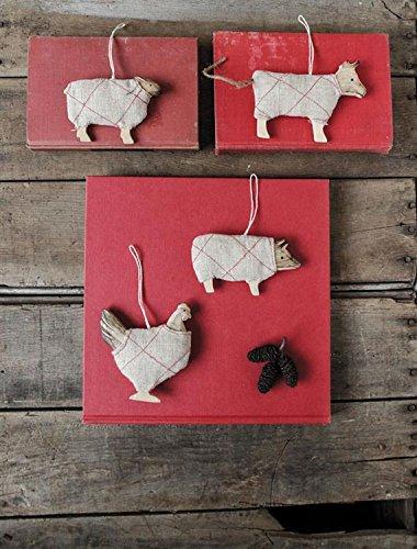 4.5″ Barn Animal Wood and Fabric Ornaments – Set of 4