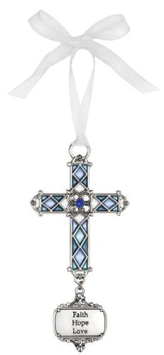 Ganz Faith Hope Love Stained Glass Hanging Cross Ornament Size: 3 1/2 inches