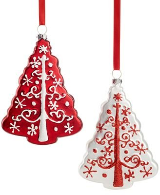 Holiday Lane Set of 2 Glass Tree Ornaments