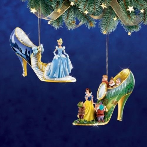 Disney Once Upon A Slipper Ornament #1 Bradford Exchange Ornament Set