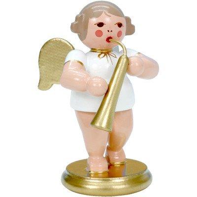 """31334 – Christian Ulbricht Ornament Angel musician with russian horn – 2.5″""""H x 1.5″""""W x 1.5″""""D"""