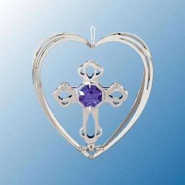 Chrome Cross in Heart Ornament – Purple Swarovski Crystal