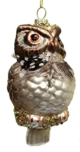 Holiday Lane Woodland Glitter, Sequin and Feathered Owl Glass Christmas Ornament