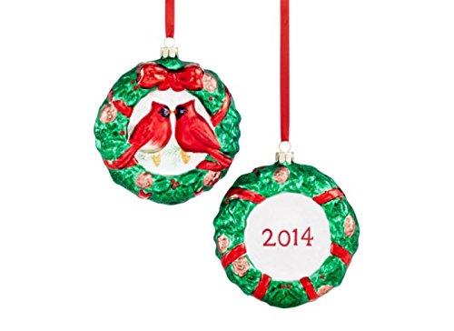 Holiday Lane Set of 2 Cardinal Disk 2014 Ornaments