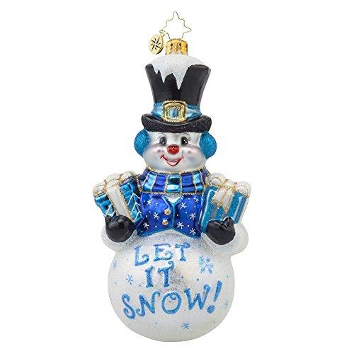 Christopher Radko Frosty Greetings Snowman Glass Christmas Ornament – 6″h.