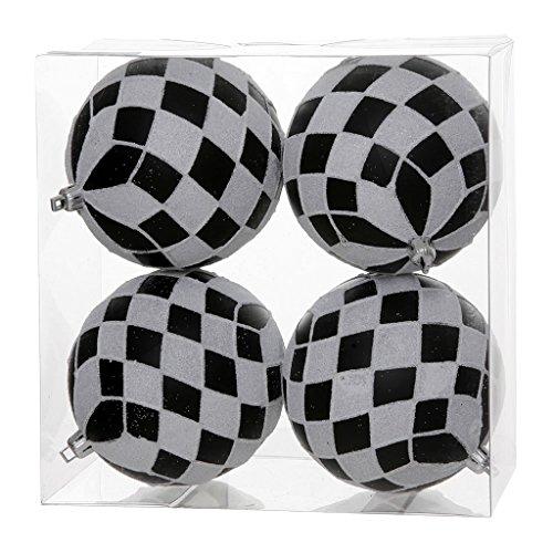 Vickerman Diamond Glitter Ball Ornaments, 4-Inch, Black and White, 4-Pack