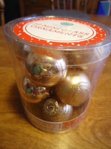 Martha Stewart 12 mini glass Gold ball Ornaments