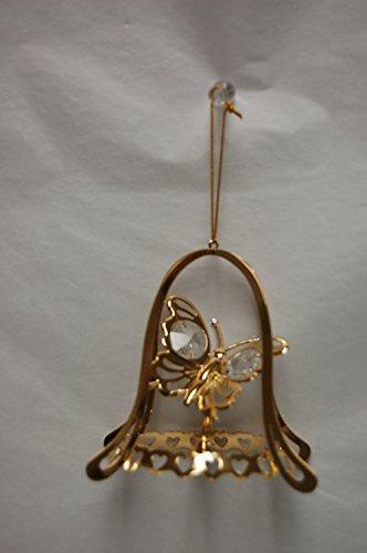 24k Gold Plated Butterfly w/ Bell Shape Oanment – Swarovski Crystal