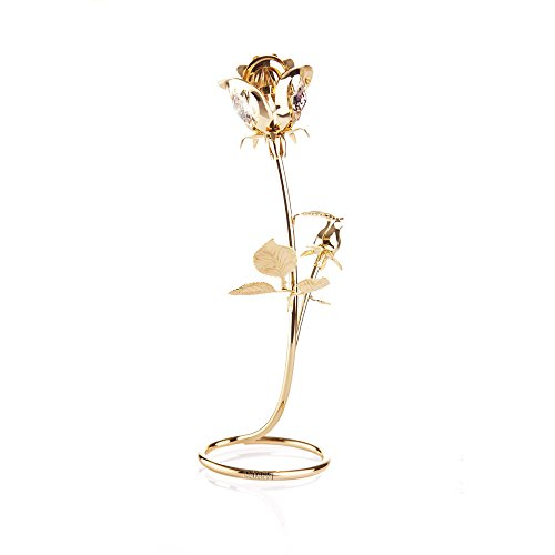 Rose Table Top Ornament Dipped in 24k Gold Plating with Swarovski Elements Crystals By Charming Temptations