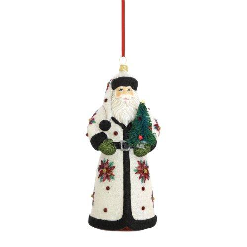Reed & Barton Santa Christmas Ornament, 6-3/4-Inch, Poinsettia