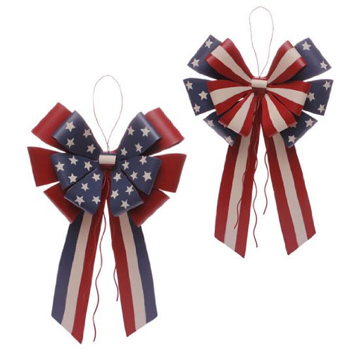 RAZ Imports – Red, White & Blue Metal Hanging Patriotic Bows 13.5″
