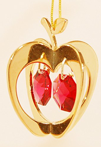 24K Gold Plated Hanging Sun Catcher or Ornament….. Apple With Two Red Swarovski Austrian Crystals