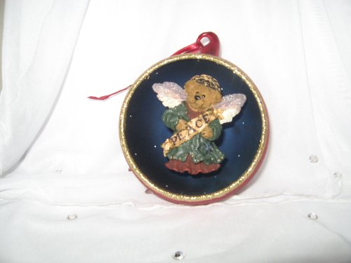 Serendipity…….Peace To All Boyds Bears Glass Christmas Ornament
