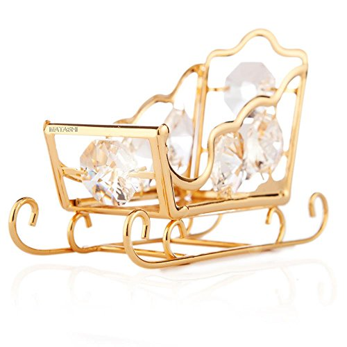 24k Gold Plated Highly Polished Sleigh Ornament Made with Swarovski Elements Crystals By Charming Temptations