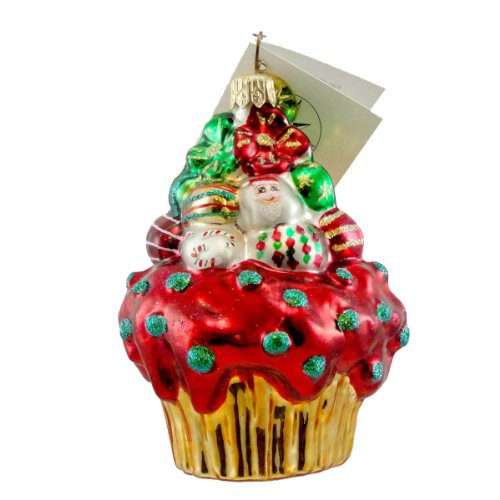 Christopher Radko CHRISTMAS CAKE SBK Glass Ornament Cupcake Exclusive
