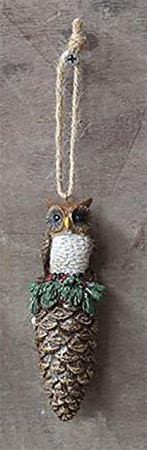 Resin Pinecone Ornament with Owl Perched on Top