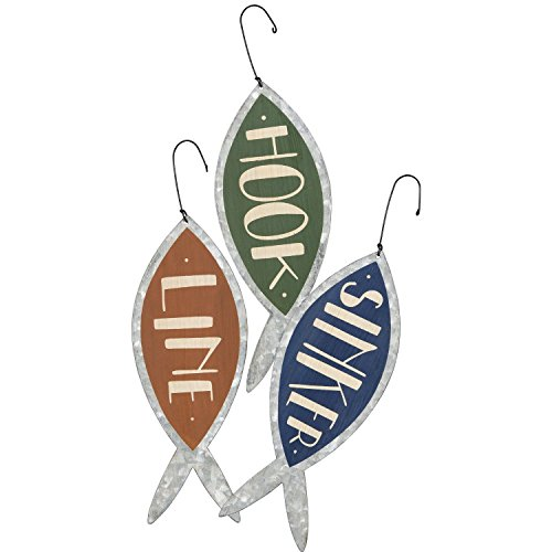 Hook, Line and Sinker – Metal Fishing Ornaments – Set of 3 – Lake House Beach Cabin