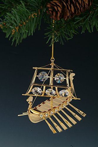 Viking Ship Swarovski Crystal 24k Gold Plated Ornament