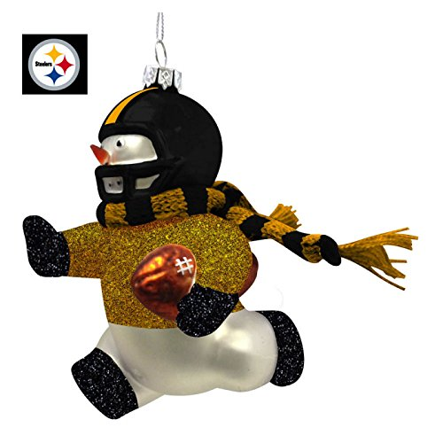 Pittsburgh Steelers Glass Snowman Player Christmas Ornament