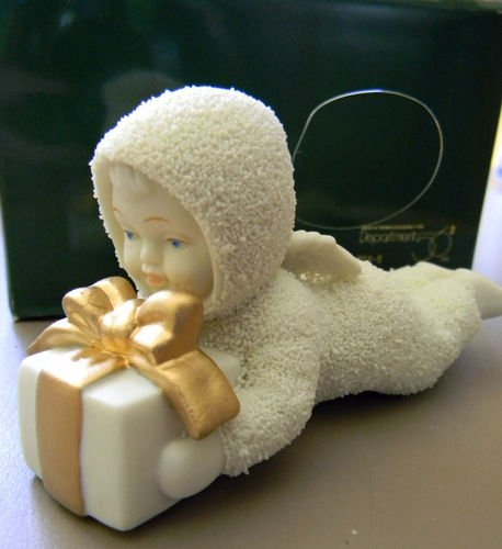 "DEPT 56 Snowbabies ""OVERNIGHT DELIVERY"" Christmas Ornament First Child GOLD BOW RARE October 1995 EVENT PIECE"